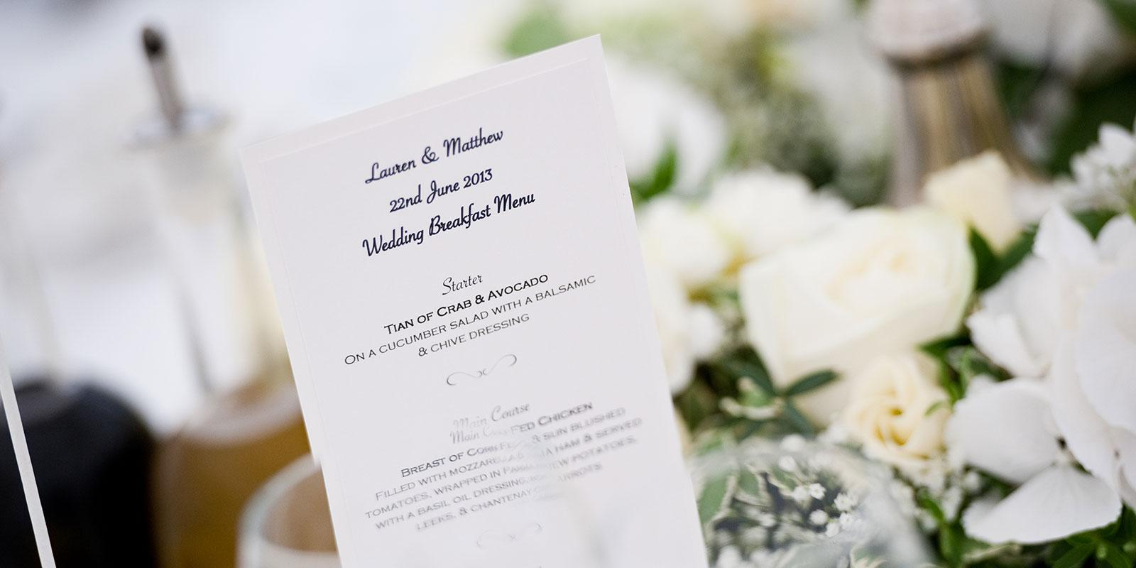 Burhill wedding sample menu